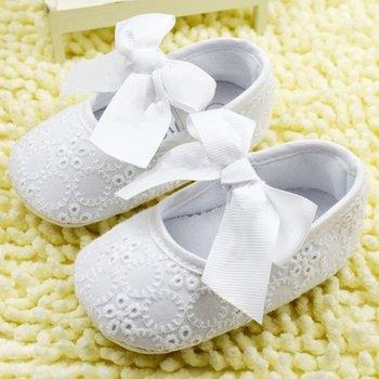 First Walkers Bow-knot Baby Girl Lace Shoes Toddler Prewalker Anti-Slip Shoe Simple Baby Shoes