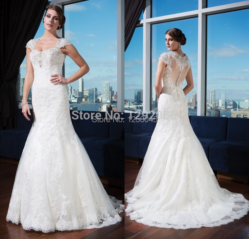 Fashionin style with cap short sleeves beads pearls lace for Plus size trumpet wedding dress with sleeves