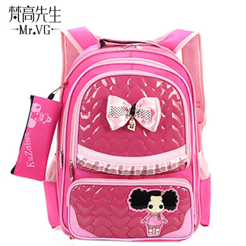 Mr.VG 2015 Lovely Cute Children Schoolbag PU rain primary pupil's school BagS backpacks vacuum Book Bag Schoolbags pink kids(China (Mainland))
