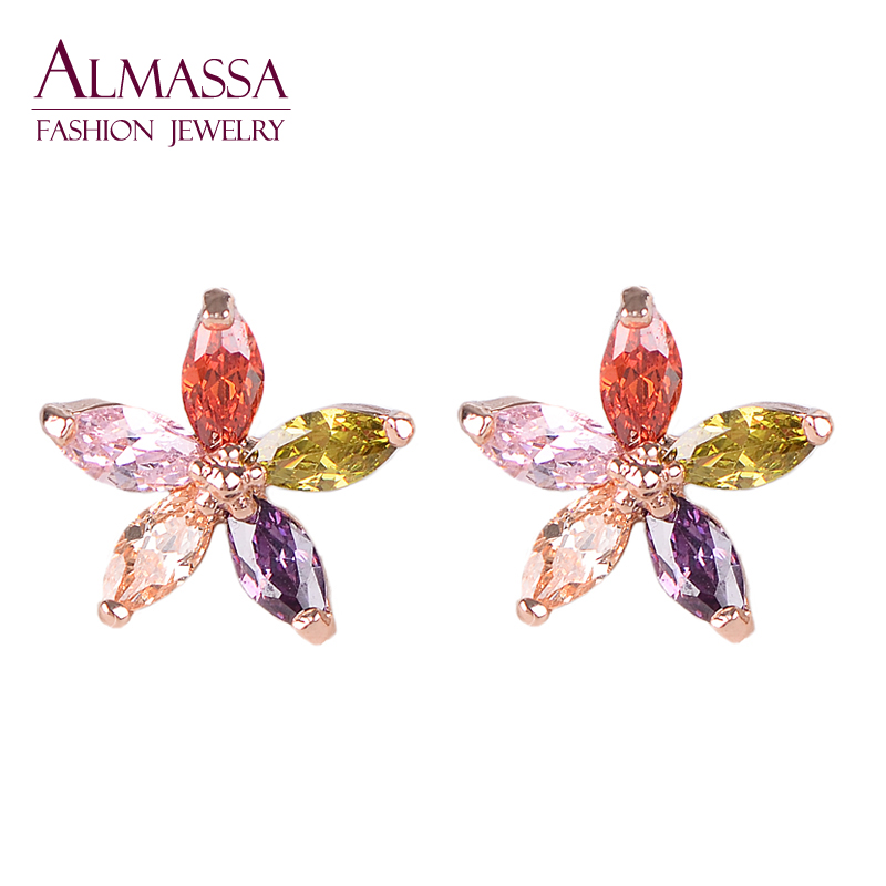 Exquisite 18K Gold Plating Multicolor Marquise Stone Connect Flower Shape Cubic Zirconia Diamond Women Party Stud Earring<br><br>Aliexpress