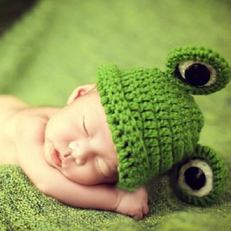 Hot Sale Cute Baby Infant Newborn Fashion Handmade Crochet Knit Cap Frog Hat For Baby Costume Photograph Prop BB-11542(China (Mainland))