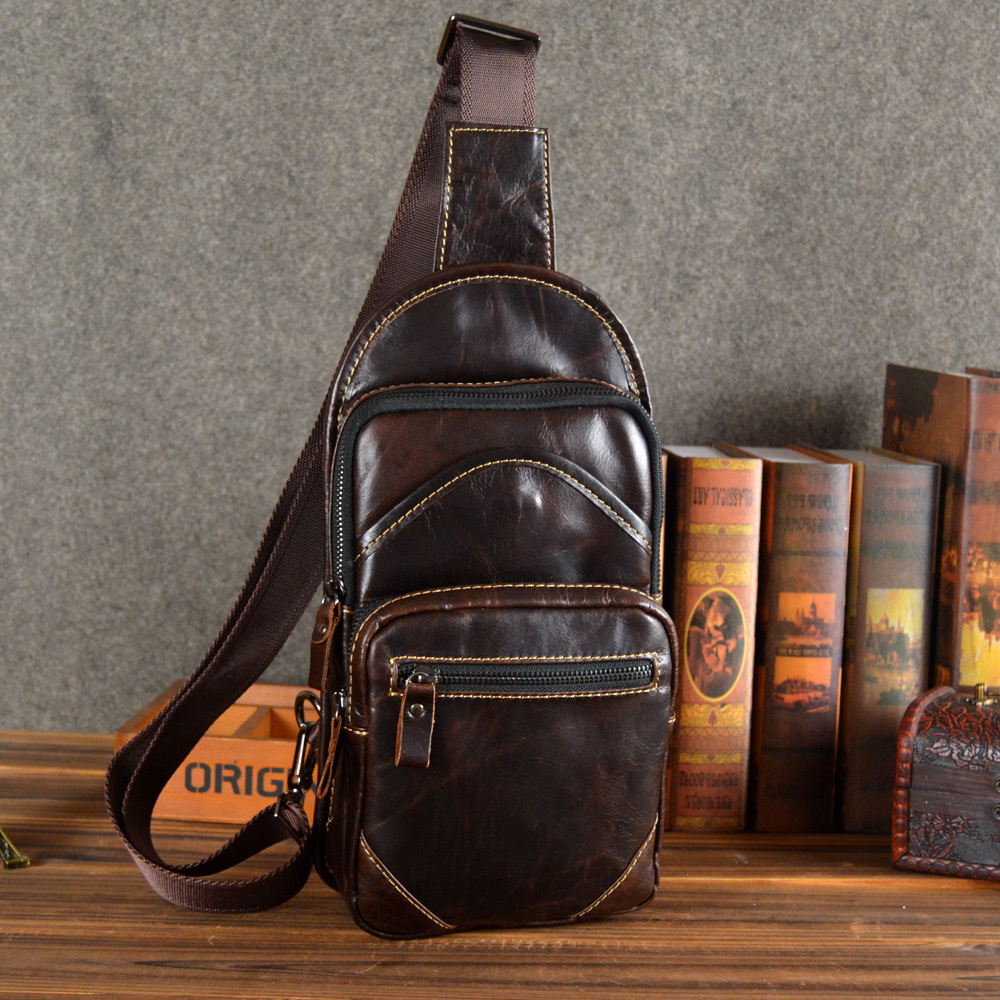 genuine leather messenger bags for men chest pack male single one shoulder crossbody bag cowhide handbags