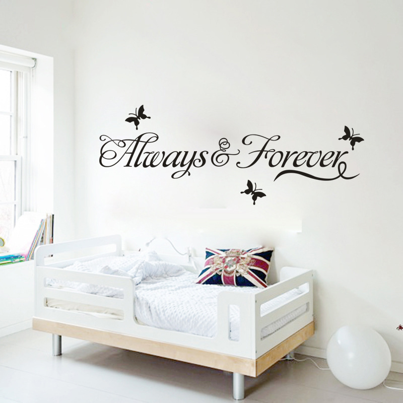 Free Shipping 60*11cm Romantic Always and Forever Characters Wall Stickers Warm Lovely Home Decoration Stickers Wholesale