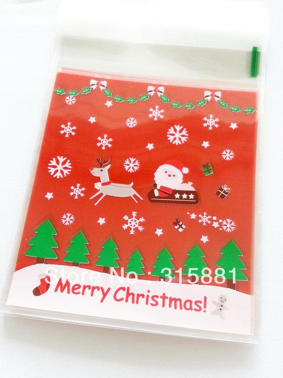 Christmas gift bags self adhesive plastic wrapping