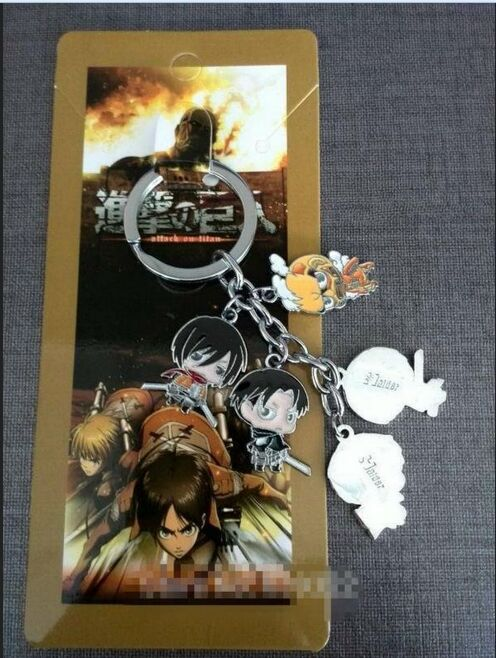 Attack on titan Metal Pendant Keychain With Blister Card 10set lot Free Shipping