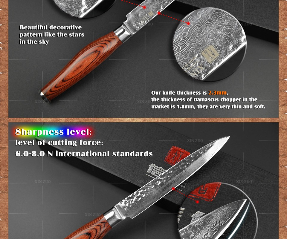 """Buy XINZUO Newest 73 layers 5"""" utility knife Japanese Damascus steel kitchen knife fruit knife with Color wood handle free shipping cheap"""