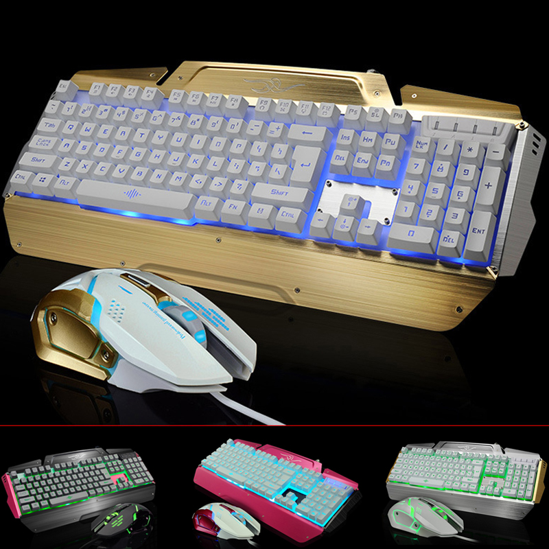 USB Wired Gaming Keyboard Mouse Set LED Backlights Keypad Mice Combos for PC Games LOL DOTA Metal Gamer Computer Peripherals