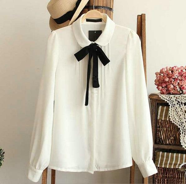 Fashion female elegant bow tie white blouses Chiffon peter pan collar casual shirt Ladies tops school blouse Women Plus Size(China (Mainland))