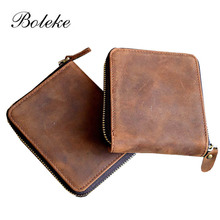 Buy Brand Men Wallets Vintage Genuine Crazy Horse Leather Zipper Around Wallet Coin Pocket Dollar Price Carteira Masculina 1020 for $12.95 in AliExpress store