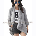 CX G A 168C Winter Genunie Real Rabbit Knitted Fur Overcoat DROP SHIPPING