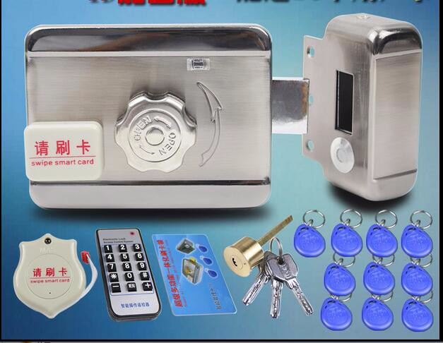 with DC12V poer supply Door gate Access Control system Electronic integrated RFID lock with reader 10pcs ID 125KHZ keyfob(China (Mainland))