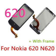 """N620 Original Front Touch Screen Digitizer With Frame Glass Lens For Nokia Lumia 620 N620 3.8"""" Touch Panel Replacement Part(China (Mainland))"""