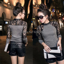 LOWEST PRICE Lady Women Lace Long Sleeve T-shirt Slim Knitwear Leather Crew Neck Tops(China (Mainland))