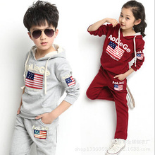 Free Shipping Sport style girl and boy suit/ long sleeve hoodie +long pants/ children knitted sportswear C0258(China (Mainland))