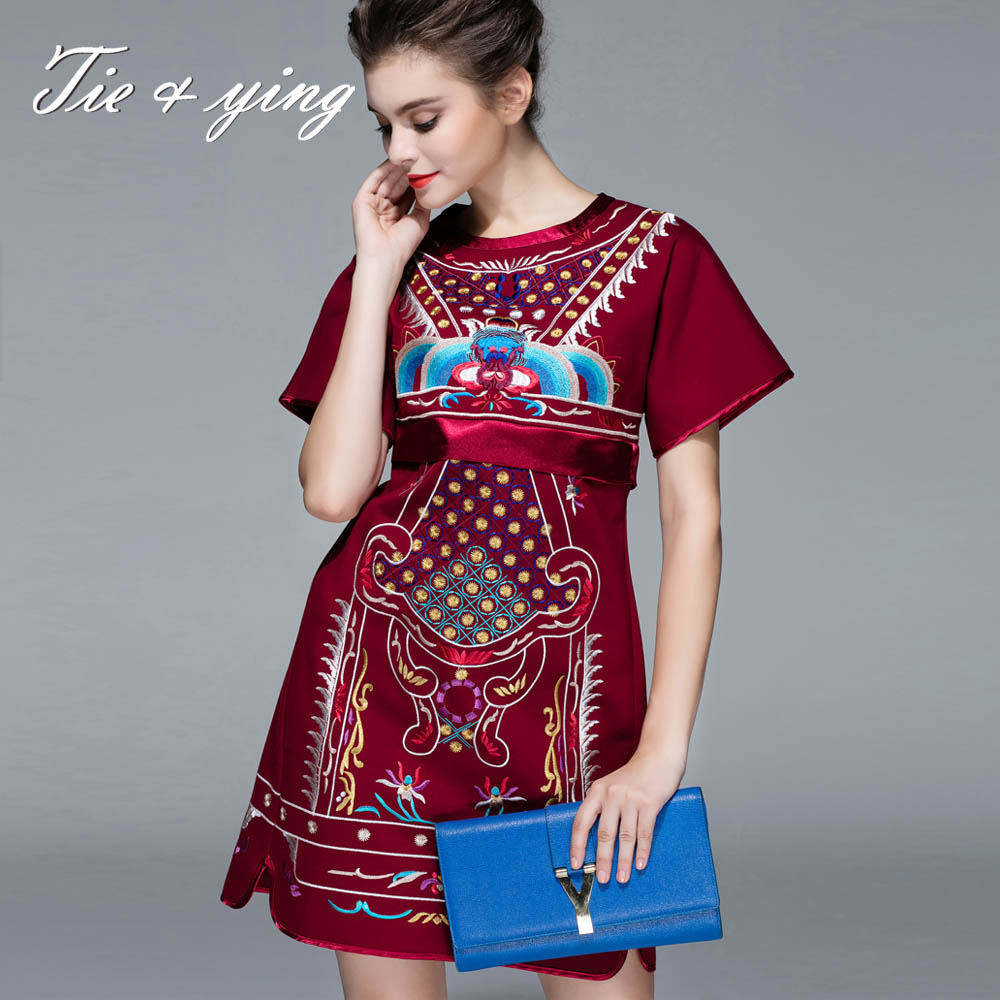 New year dresses women brand wool short party dresses 2015 autumn and winter Chinese style vintage royal embroidery dresses 3XL(China (Mainland))
