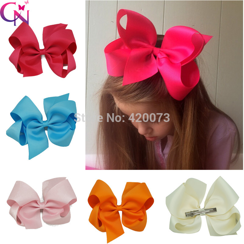 "Free Shipping 32 Pcs/lot 6"" Solid Hair Bow With Clip,Ribbon Hair Bow Hair Clip For Baby,Girls Boutique Hair Bow(China (Mainland))"
