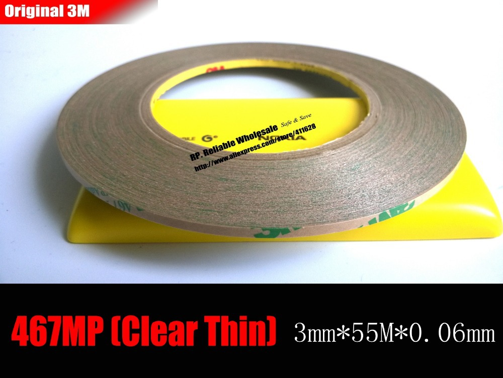 (0.06mm Thickness), 3mm*55 meters 3M 467MP 200MP Double Sided Sticky Tape, for LCD /Touch Screen Digitizer Adhesive Super Thin