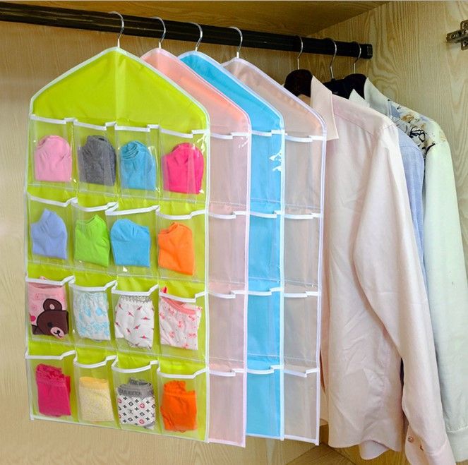 1 pcs 16 slots Oxford Storage Bags Used in Wardrobe Underwear Socks Organizer Hanging Type Storage Bags(China (Mainland))