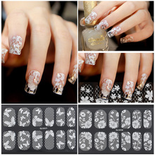2pcs/bag Charming White Lace Nail Art Stickers Nail Sticker Decorations Beauty Women Make up Accessories 6 Styles Free Shipping