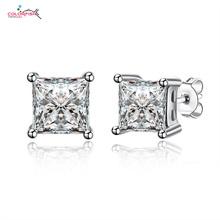 Solid 925 Sterling Silver Earrings Unisex Jewelry 2 Carat Square Princess Cut Cz Diamond Earrings For Women Men Couple Ear Rings