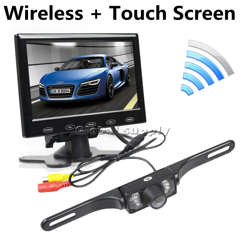 7 inch Touch Button Ultra-thin Car Monitor + IR Rear View Camera Wireless Parking Assistance System Kit(China (Mainland))