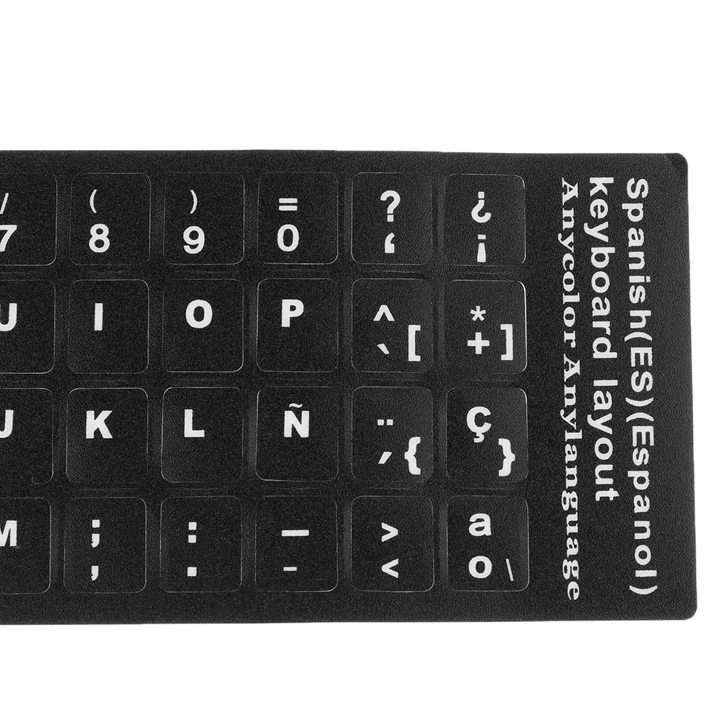 Universal Spanish Keyboard Stickers, PC Keyboard Stickers Black Background for PC Laptop Notebook Desktop
