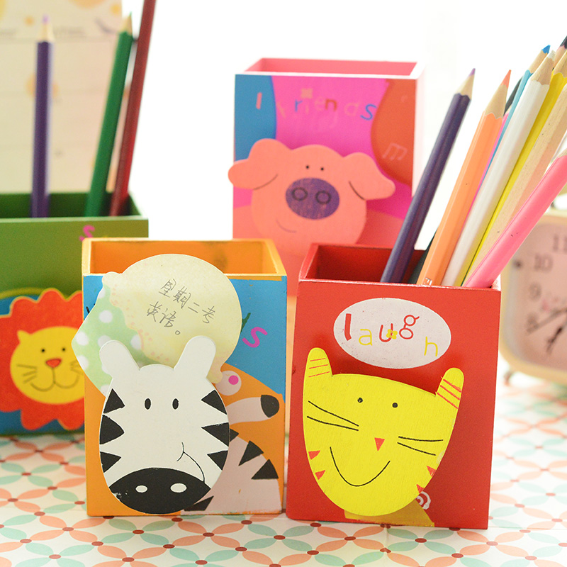 Cute Animal Fantanstic Cute Cartoon Storage Box Fashion Creative Muti-function Wood Pencil Cases Hot Sale Korea Stationary PL(China (Mainland))