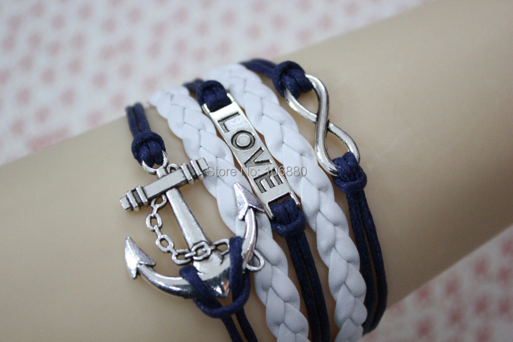 Infinity, love, anchor charm bracelet, Marine braided leather best gift friend - The lowest price shop store