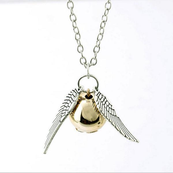 New Harry Potter Necklace 2015 Popular Drop Fine Jewelry Angel Wing Charm Golden Snitch Pendent Necklace Men Jewelry Vintage(China (Mainland))