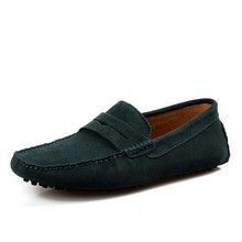 New 2014 Men Casual Suede Loafers, Spring Black Leather Driving Moccasins Gommino, Slip on Men Velvet Loafers Shoes (China (Mainland))