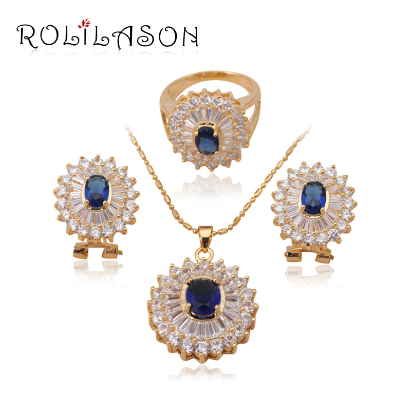 18k yellow gold plated Necklaces & Pendants Earrings Crystal Sets jewelry Zirconia Fashion Ring sz #7 #8 JS182 - TaoLiHao Ltd. store