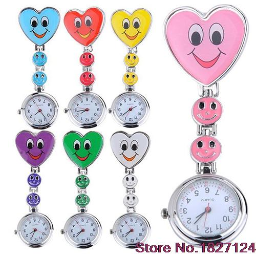 2015 Popular Style  Womens Cute Smiling Faces Heart Clip-On Pendant Nurse Fob Brooch Pocket  Watch<br><br>Aliexpress