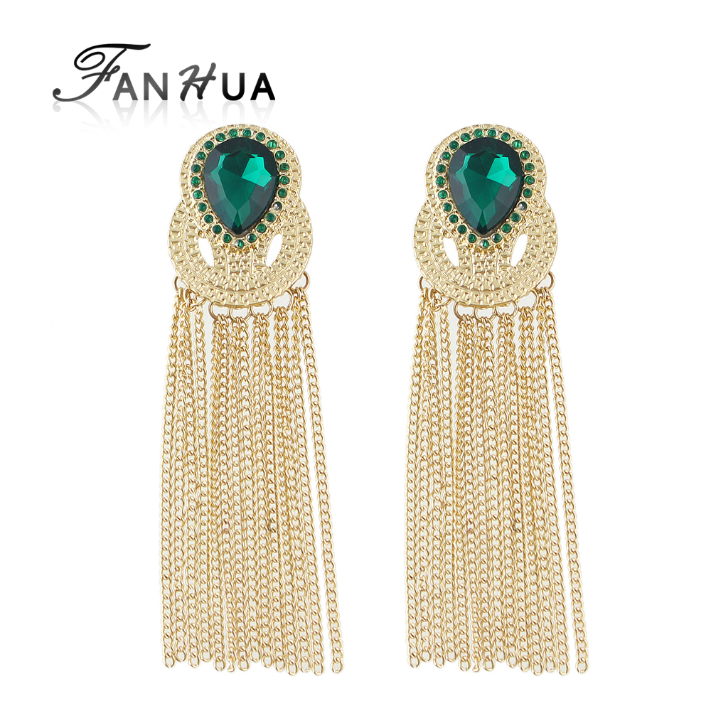 Brincos Grandes Long Tassel Perfumes And Fragrances For Women Drop Earrings Brincos Gold Color Green Hotpink Rhinestone(China (Mainland))