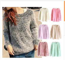 2015 New Women Sweater Round Neck Mohair Pullover Sweater Free Shipping(China (Mainland))