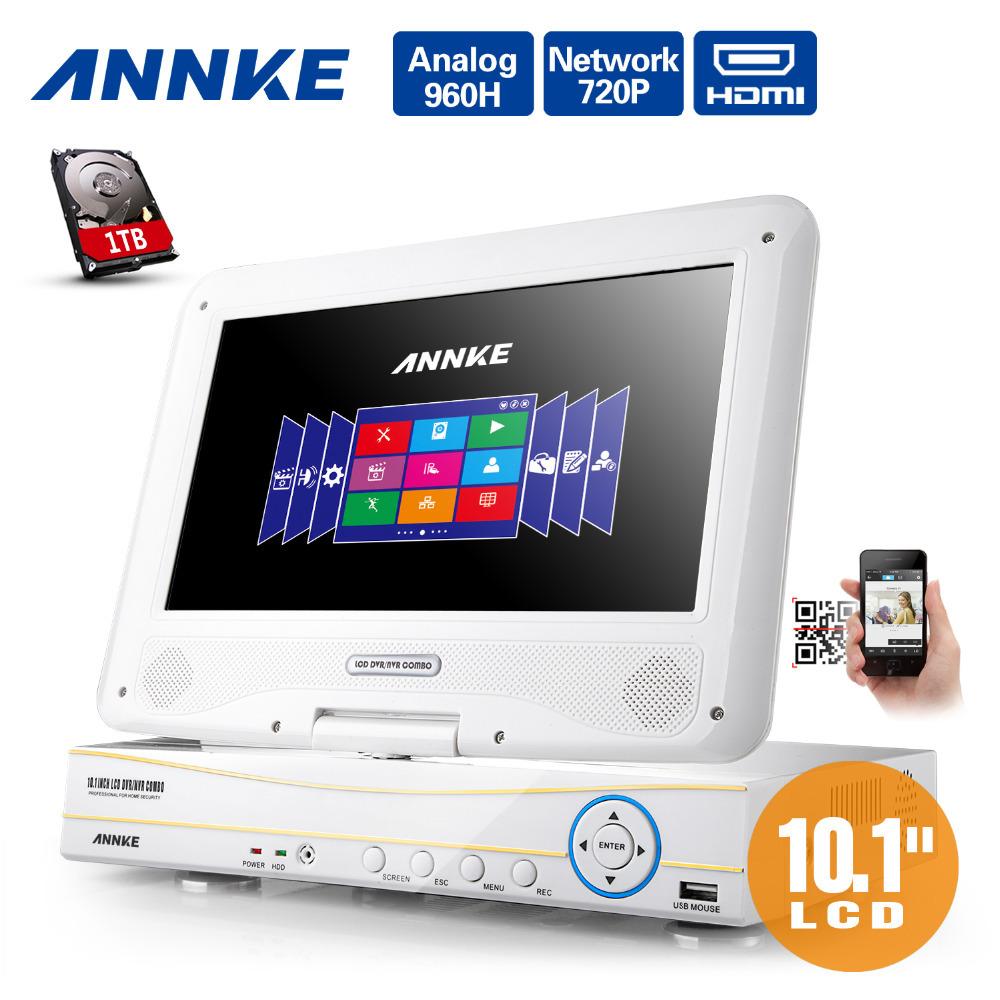 "ANNKE 10.1"" LCD 4CH 720P 960H HD DVR NVR HVR Network CCTV Surveillance Video 1TB(China (Mainland))"
