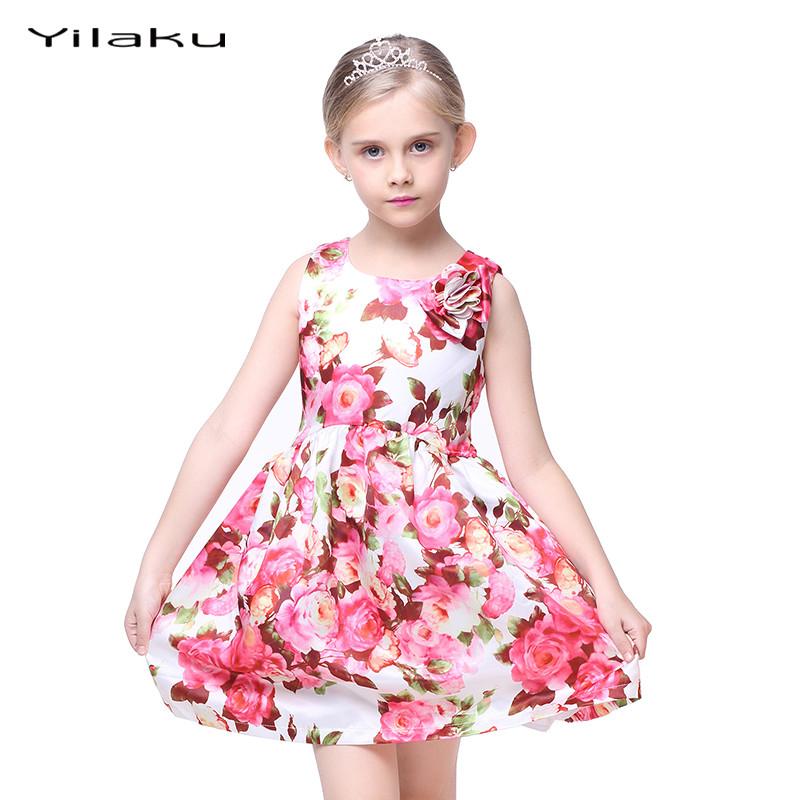 Kids Floral Print Dresses for Girls Beautiful Princess Dress Summer Girl Party Dress Children Wedding Dress Girls Clothes CA282(China (Mainland))