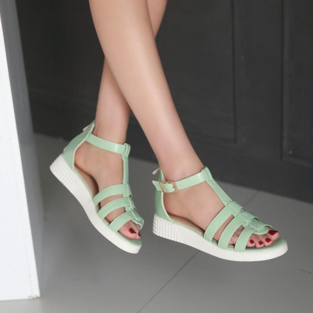 2015 mujeres de moda de verano sandalias cuñas peep toe abierto toe plataforma strappy laidies sandalias de tacón menta verde blanco zapatos de mujer 883(China (Mainland))