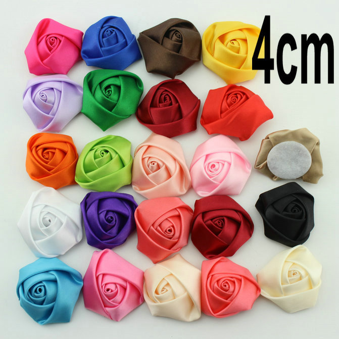 """Wholesale 23 colors-- 1.4"""" Satin Rosettes flower,Polyester Ribbon Rolled Rose,Fabric Flower,DIY baby headband/Hair Acessories(China (Mainland))"""