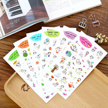 Buy 6 sheets/lot Lovely Painting lines Girl paper sticker DIY scrapbooking diary album sticker post stationery school supplies for $1.35 in AliExpress store