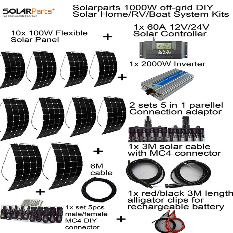 Solarparts off-grid universal Solar System KITS 1000W flexible solar panel 1pcs 60A controller ,2 sets 4 in1 MC4 adaptor cable(China (Mainland))