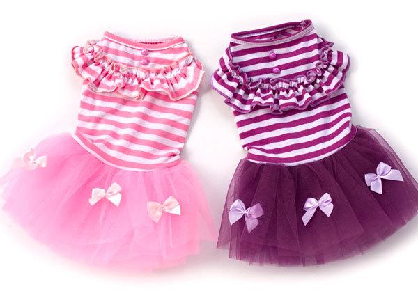 Stripes Bow Princess TUTU Dress Skirt Cat Small dog Clothes dog Costume XS S M L XL(China (Mainland))
