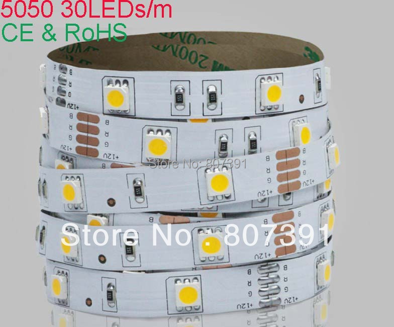 2 year warranty 30m (6 rolls) Waterproof 30led/m SMD5050 led strip light / flexible led ribbon light(China (Mainland))