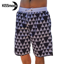 KISSmoon Quick-drying Triangle chequered with black and white Swimwear men Shorts-large lovers Couple Men board shorts KBS1107