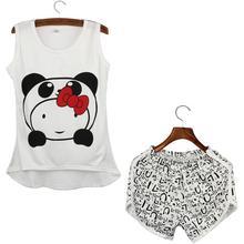 Women Pyjamas Clothing Sleeveless Tops Shorts Set Female Pyjamas Sets Night Suit Sleepwear(China (Mainland))
