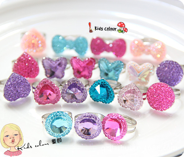Free shipping children baby gift resin imitation diamond butterfly heart Adjustable Ring Jewelry(China (Mainland))