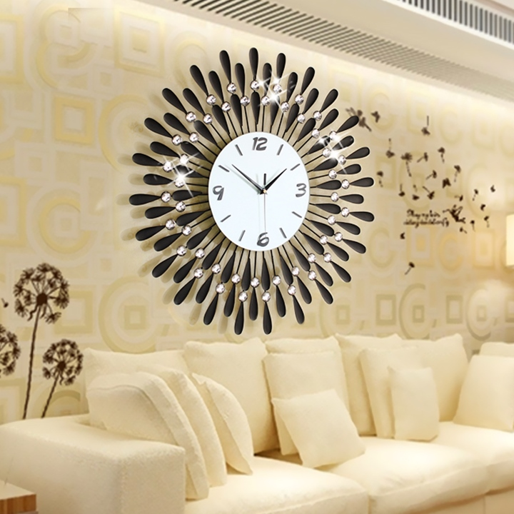 Home decoration wall clock modern living room large wall for Decor mural fer forge