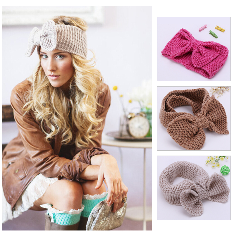 2016 Beauty Fashion12Colors Flowerhand made Crochet Knit Knitted hairband Headband Ear Warmer Hair Muffs Band Winter(China (Mainland))