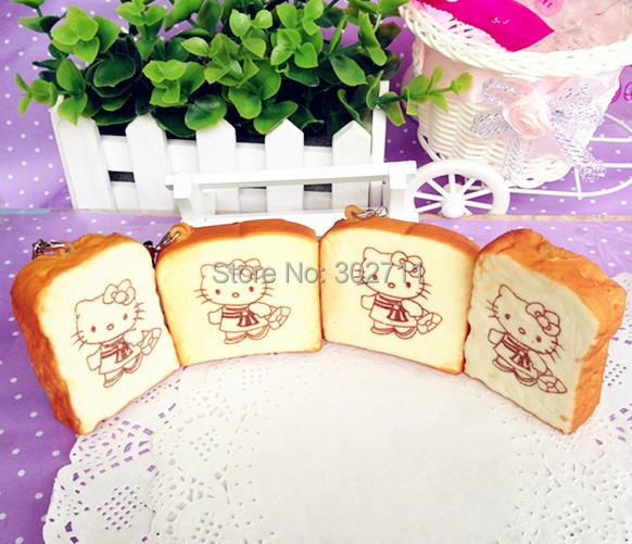 30Pcs 5CM Square & Retangle Hello Kitty Cat Toast Squishy Cell Phone Charm/free shipping(China (Mainland))