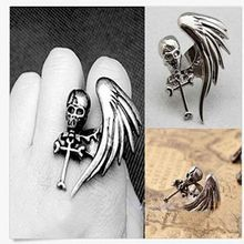 Hot Fashion Vintage Punk Rock Gothic Cool Skull Wing Cross Adjustable Finger Ring Women Fashion Jewelry For Sale