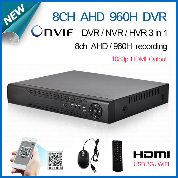 8 channel full AHD 960H D1 Real time HDMI 1080P Hybrid dvr NVR Onvif for hikvision ip camera P2P CCTV DVR Recorder 8ch(China (Mainland))